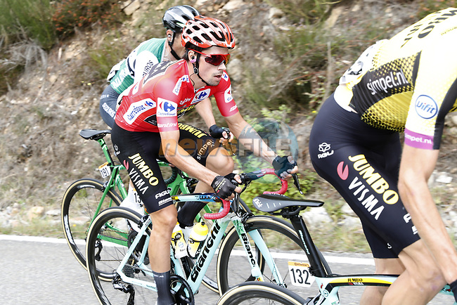 Race leader Primoz Roglic (SLO) Team Jumbo-Visma climbs during Stage 16 of La Vuelta 2019  running 144.4km from Pravia to Alto de La Cubilla. Lena, Spain. 9th September 2019.<br /> Picture: Luis Angel Gomez/Photogomezsport | Cyclefile<br /> <br /> All photos usage must carry mandatory copyright credit (© Cyclefile | Luis Angel Gomez/Photogomezsport)