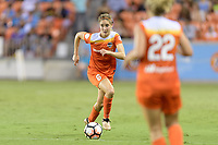 Houston, TX - Saturday June 17, 2017: Morgan Brian brings the ball up the field during a regular season National Women's Soccer League (NWSL) match between the Houston Dash and the Orlando Pride at BBVA Compass Stadium.