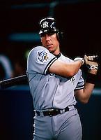 Scott Brosius of the New York Yankees participates in the 1998 World Series against the San Diego Padres at Qualcomm Stadium in San Diego, California. (Larry Goren/Four Seam Images)