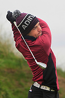 Liam Abom (Edmonstown) on the 1st tee during Round 2 of the Ulster Boys Championship at Portrush Golf Club, Portrush, Co. Antrim on the Valley course on Wednesday 31st Oct 2018.<br /> Picture:  Thos Caffrey / www.golffile.ie<br /> <br /> All photo usage must carry mandatory copyright credit (&copy; Golffile | Thos Caffrey)