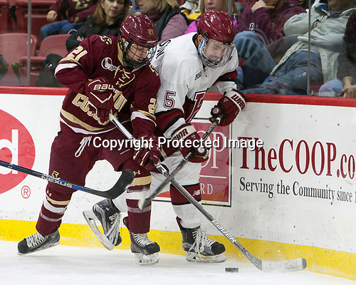 Matthew Gaudreau (BC - 21), Clay Anderson (Harvard - 5) - The Harvard University Crimson defeated the visiting Boston College Eagles 5-2 on Friday, November 18, 2016, at Bright-Landry Hockey Center in Boston, Massachusetts.{headline] - The Harvard University Crimson defeated the visiting Boston College Eagles 5-2 on Friday, November 18, 2016, at Bright-Landry Hockey Center in Boston, Massachusetts.