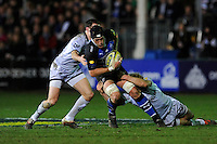 Ben Skirving of Bath Rugby is tackled during the LV= Cup semi final match between Bath Rugby and Leicester Tigers at The Recreation Ground, Bath (Photo by Rob Munro, Fotosports International)