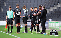 Lincoln City's Liam Bridcutt with Lincoln City manager Michael Appleton after being substituted<br /> <br /> Photographer Chris Vaughan/CameraSport<br /> <br /> The EFL Sky Bet League One - Milton Keynes Dons v Lincoln City - Saturday 19th September 2020 - Stadium MK - Milton Keynes<br /> <br /> World Copyright © 2020 CameraSport. All rights reserved. 43 Linden Ave. Countesthorpe. Leicester. England. LE8 5PG - Tel: +44 (0) 116 277 4147 - admin@camerasport.com - www.camerasport.com