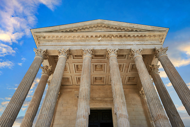 Facade of the Maison Carrée, a ancient Roman temple built around 4-7 AD and dedicated to Julius Caesar, the best preserved example of a Roman temple,  Nimes, France
