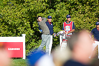 Rory McIlroy (Team Europe) on the 10th tee during the Saturday morning Foursomes at the Ryder Cup, Hazeltine national Golf Club, Chaska, Minnesota, USA.  01/10/2016<br /> Picture: Golffile | Fran Caffrey<br /> <br /> <br /> All photo usage must carry mandatory copyright credit (&copy; Golffile | Fran Caffrey)