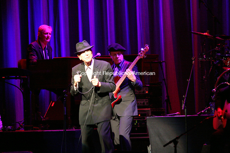 """WATERBURY, CT - 14 May, 2009 - 051409MO11 - Leonard Cohen sings """"Dance Me To The End Of Love"""" to open his Thursday night performance at the Palace Theater. Jim Moore Republican-American."""