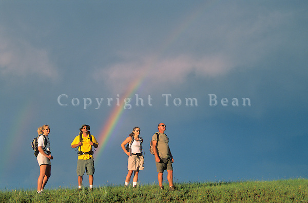 Hikers and prairie rainbow in the Little Missouri National Grassland, north of Medora, North Dakota, AGPix_0180.