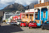 South Africa, Cape Town, Bo-kaap Street Scene.  Table Mountain in background.