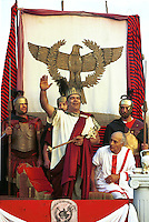 The Emperor recive the gladiators before they fight during a performance at the school gladiator in Rome.