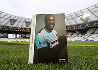 23rd November 2019; London Stadium, London, England; English Premier League Football, West Ham United versus Tottenham Hotspur; Michail Antonio of West Ham United featured on the front cover of the match programme - Strictly Editorial Use Only. No use with unauthorized audio, video, data, fixture lists, club/league logos or 'live' services. Online in-match use limited to 120 images, no video emulation. No use in betting, games or single club/league/player publications