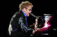 Brit Elton John performs on stage during the 2nd day of the Rock in Rio festival at Bela Vista Park in LIsbon,Portugal  on 22 May 2010.
