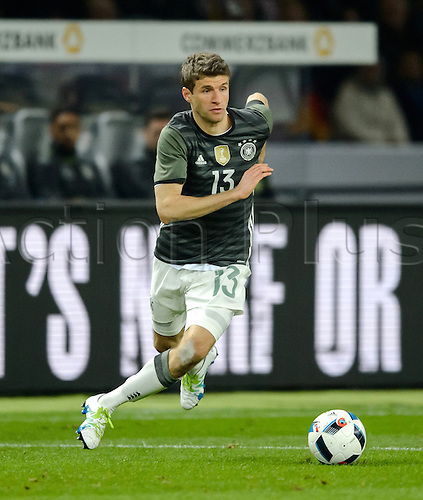 26.03.2016. Olympiastadion Berlin, Berlin, Germany.  Germany's Thomas Mueller in action during the international friendly soccer match between Germany and England at the Olympiastadion