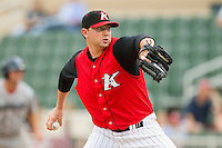 Starting pitcher Phil Negus #45 of the Kannapolis Intimidators in action against the Lakewood BlueClaws at Fieldcrest Cannon Stadium on July 16, 2011 in Kannapolis, North Carolina.  The Intimidators defeated the BlueClaws 5-3.   (Brian Westerholt / Four Seam Images)