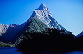 The world famous Mitre Peak of Milford Sound, Fiordland National Park, South Island, New Zealand.