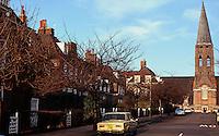 London: Hampstead Garden Suburb, Heathgate St. Lutyens St. Judes at top of street.Photo '90.