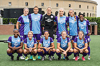 Allston, MA - Sunday July 31, 2016: Orlando Pride starting eleven prior to a regular season National Women's Soccer League (NWSL) match between the Boston Breakers and the Orlando Pride at Jordan Field.