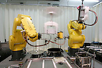 NAGOYA - SEPTEMBER 3, 2009: Aisei, an industrial robot maker in Nagoya opens Fa-men, a noodle shop where two robot arms work as hi-tech chefs. During downtime, the robots entertain customers by demonstrating various tricks. (Photo Laurent Benchana/Nippon News)