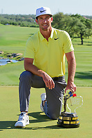 Kevin Chappell (USA) and the trophy for winning the 2017  Valero Texas Open, AT&amp;T Oaks Course, TPC San Antonio, San Antonio, Texas, USA. 4/23/2017.<br /> Picture: Golffile | Ken Murray<br /> <br /> <br /> All photo usage must carry mandatory copyright credit (&copy; Golffile | Ken Murray)