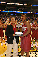5 April 2008: Stanford Cardinal Candice Wiggins receives The Lowe's Outstanding Senior Student-Athlete award during Stanford's 2008 NCAA Division I Women's Basketball Final Four open practice at the St. Pete Times Forum Arena in Tampa Bay, FL.