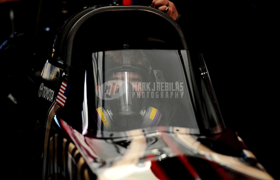 Feb. 27, 2011; Pomona, CA, USA; NHRA top fuel dragster driver Del Worsham during the Winternationals at Auto Club Raceway at Pomona. Mandatory Credit: Mark J. Rebilas-.
