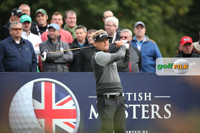 Soren Kjeldsen (DEN) in action during the Final Round of the British Masters 2015 supported by SkySports played on the Marquess Course at Woburn Golf Club, Little Brickhill, Milton Keynes, England.  11/10/2015. Picture: Golffile | David Lloyd<br /> <br /> All photos usage must carry mandatory copyright credit (&copy; Golffile | David Lloyd)
