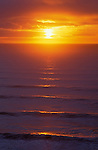 Sunset and waves from Heceta Head viewpoint on the Oregon coast..#8310-6413