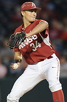 NWA Democrat-Gazette/ANDY SHUPE<br />Arkansas reliever Jake Reindl delivers to the plate against Memphis Tuesday, April 18, 2017, during the fourth inning at Baum Stadium. Visit nwadg.com/photos to see more photographs from the game.