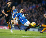 24.11.2018 Rangers v Livingston: Daniel Candeias tries to turn in the rebound