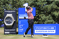 Scott Hend (AUS) tees off the 1st tee during Saturday's Round 3 of the Porsche European Open 2018 held at Green Eagle Golf Courses, Hamburg Germany. 28th July 2018.<br /> Picture: Eoin Clarke | Golffile<br /> <br /> <br /> All photos usage must carry mandatory copyright credit (&copy; Golffile | Eoin Clarke)