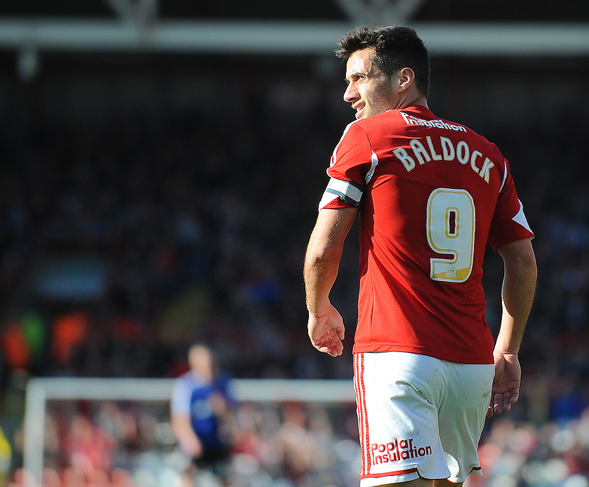 Bristol City's Sam Baldock in action during todays match  <br /> <br /> Photo by Kevin Barnes/CameraSport<br /> <br /> Football - The Football League Sky Bet League One - Bristol City v Swindon Town - Saturday 15th March 2014 - Ashton Gate - Bristol<br /> <br /> &copy; CameraSport - 43 Linden Ave. Countesthorpe. Leicester. England. LE8 5PG - Tel: +44 (0) 116 277 4147 - admin@camerasport.com - www.camerasport.com