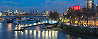 Festival Pier on the River Thames with Waterloo Bridge behind, South Bank, London, England
