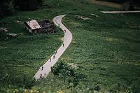 descending from the Col du Pr&eacute;<br /> <br /> Stage 6: Frontenex &gt; La Rosi&egrave;re Espace San Bernardo (110km)<br /> 70th Crit&eacute;rium du Dauphin&eacute; 2018 (2.UWT)