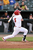 Peoria Chiefs second baseman Mason Katz (5) at bat during a game against the Kane County Cougars on June 2, 2014 at Dozer Park in Peoria, Illinois.  Peoria defeated Kane County 5-3.  (Mike Janes/Four Seam Images)