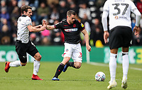 Bolton Wanderers' Andrew Taylor competing with Derby County's Craig Bryson <br /> <br /> Photographer Andrew Kearns/CameraSport<br /> <br /> The EFL Sky Bet Championship - Derby County v Bolton Wanderers - Saturday 13th April 2019 - Pride Park - Derby<br /> <br /> World Copyright &copy; 2019 CameraSport. All rights reserved. 43 Linden Ave. Countesthorpe. Leicester. England. LE8 5PG - Tel: +44 (0) 116 277 4147 - admin@camerasport.com - www.camerasport.com