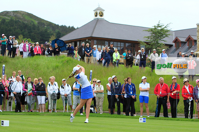 Olivia Mehaffey on the 13th tee during the Friday morning Foursomes of the 2016 Curtis Cup at Dun Laoghaire Golf Club on Friday 10th June 2016.<br /> Picture:  Golffile | Thos Caffrey