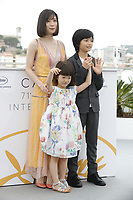 Mayu Matsuoka, Miyu Sasaki and Jyo Kairi attends the photocall for 'Shoplifters (Manbiki Kazoku)' during the 71st annual Cannes Film Festival at Palais des Festivals on May 14, 2018 in Cannes, France.<br /> CAP/GOL<br /> &copy;GOL/Capital Pictures