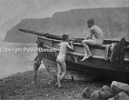 Three Naked Boys Around a Coble<br /> <br /> 1880