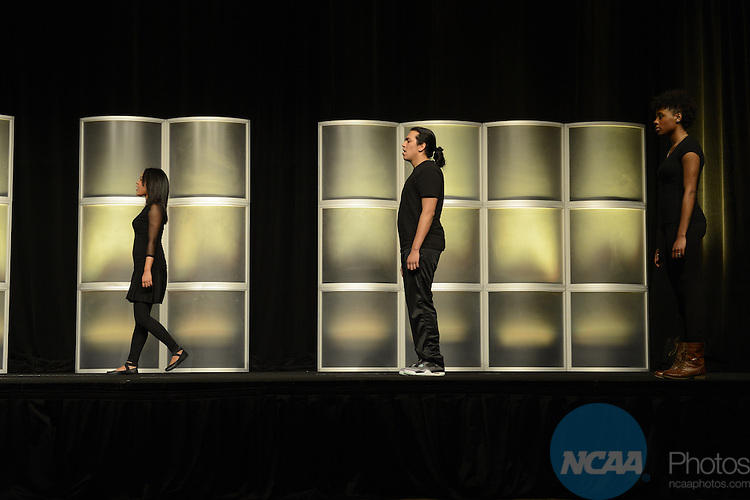 16 JAN 2014: The Association Lunch Program during the 2014 NCAA convention held in San Diego, CA. Justin Tafoya/NCAA Photos (Pictured: Ashlyn Akins, Marvin Gutierrez, and Shameaca Moore)