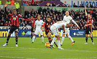 Andre Ayew of Swansea scores with a back-heel kick during the Barclays Premier League match between Swansea City and Bournemouth at the Liberty Stadium, Swansea on November 21 2015