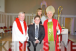 Martin Medricky from  Rathmorrell NS, after he was confirmed at St. John's Church, Causeway, by the Bishop of Kerry Ray Brown and Fr. Brendan Walsh, PP Causeway and Ballyduff on Monday with Teacher Sheila Egan