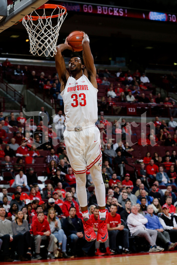 Ohio State Buckeyes forward Keita Bates-Diop (33) dunks during the first half of a NCAA Division I men's basketball game between the Ohio State Buckeyes and the North Carolina Central Eagles on Monday, November 13, 2016 at Value City Arena in Columbus, Ohio. Ohio State leads North Carolina Central 31-29 at halftime. (Joshua A. Bickel/The Columbus Dispatch)