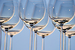 Wine glasses against blue sky; Alyeska Resort, Anchorage, Alaska..#D0505012