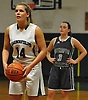 Grace Zagaja #14 of Harborfields steps to the free throw line during a Suffolk County varsity girls basketball game against Westhampton at Harborfields High School on Tuesday, Jan. 24, 2017. Harborfields won by a score of 53-25.