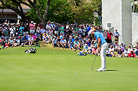 Dustin Johnson (USA) sinks his putt on 18 during round 6 of the World Golf Championships, Dell Technologies Match Play, Austin Country Club, Austin, Texas, USA. 3/26/2017.<br /> Picture: Golffile | Ken Murray<br /> <br /> <br /> All photo usage must carry mandatory copyright credit (&copy; Golffile | Ken Murray)