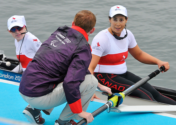 LONDON, ENGLAND 09/02/2012:  Victoria Nolan of Canada's Mixed Coxed Four competes in the LTA Mixed Coxed Four Final B at the London 2012 Paralympic Games at Eton Dorney. (Photo by Matthew Murnaghan/Canadian Paralympic Committee)