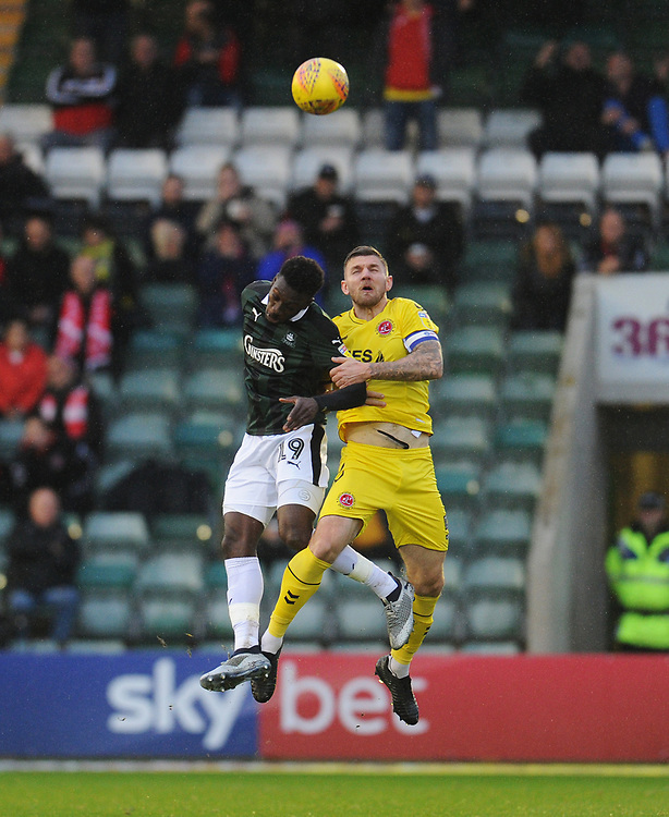 Fleetwood Town's Ashley Eastham vies for possession with Plymouth Argyle's Freddie Ladapo<br /> <br /> Photographer Kevin Barnes/CameraSport<br /> <br /> The EFL Sky Bet League One - Plymouth Argyle v Fleetwood Town - Saturday 24th November 2018 - Home Park - Plymouth<br /> <br /> World Copyright © 2018 CameraSport. All rights reserved. 43 Linden Ave. Countesthorpe. Leicester. England. LE8 5PG - Tel: +44 (0) 116 277 4147 - admin@camerasport.com - www.camerasport.com