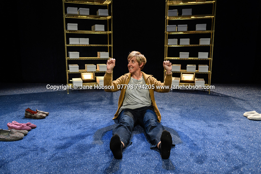 """Edinburgh, UK. 31.07.2018. Tara Finney productions, in association with Royal Exchange Theatre, presents the world premiere of """"The Greatest Play in the History of the World"""", by Ian Kershaw, at the Traverse Theatre, as part of the Edinburgh Festival Fringe. The play is directed by Raz Shaw, with set and costume design by Naomi Kuyck-Cohen and lighting design by Jack Knowles. Picture shows: Julie Hesmondhalgh. Photograph © Jane Hobson."""