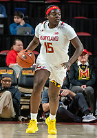 COLLEGE PARK, MD - JANUARY 26: Ashley Owusu #15 of Maryland starts an attack during a game between Northwestern and Maryland at Xfinity Center on January 26, 2020 in College Park, Maryland.