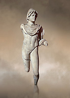Roman statue of Dioscur. Marble. Perge. 2nd century AD. Antalya Archaeology Museum; Turkey. Against a warm art background.<br /> <br /> The statue is one of the twin brothers that together are called the Dioscuri which means sons of the God Zeus. Their names are Castor and Pollux.
