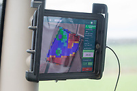 Soyal map on an iPad fitted in to tractor showing variable rate application <br /> &copy;Tim Scrivener Photographer 07850 303986<br />      ....Covering Agriculture In The UK....